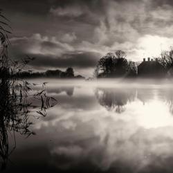 Mist boven de Amstel, winters landschap