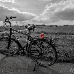 Cycling through a beautiful landscape. with a break