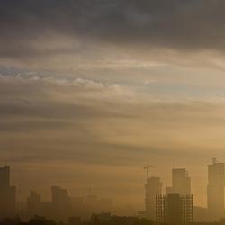 Skyline in mist