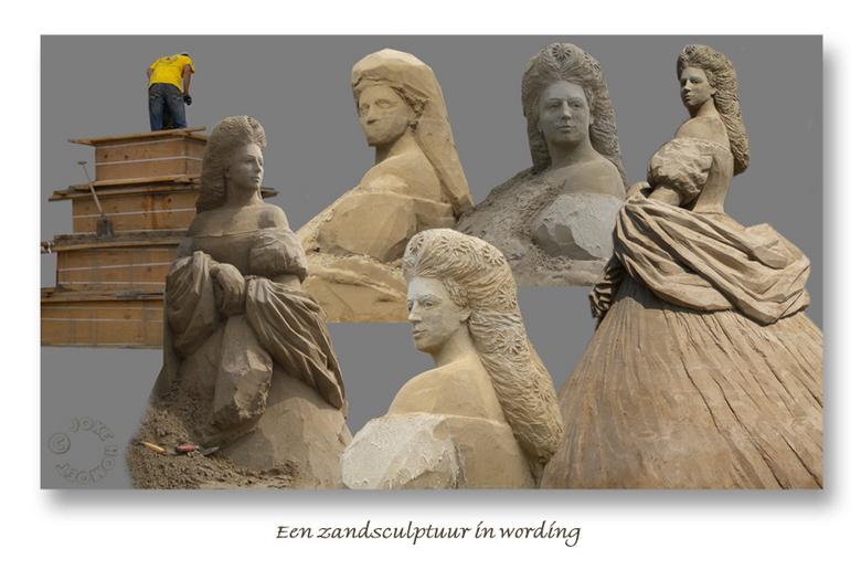 Een zandsculptuur in wording - Afgelopen week hebben kunstenaars in Zandvoort hard gewerkt aan prachtige zandsculpturen. Iedere dag ben ik gaan kijken