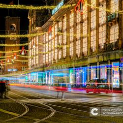 Lichtjes op het damrak in Amsterdam