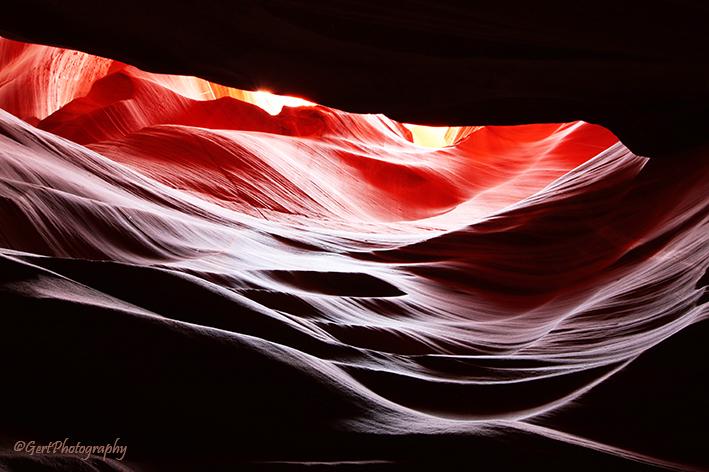 Antelope Canyon - Page, Arizona. Canyon is alleen toegankelijk onder begeleiding van een Navajo-gids en een behoorlijke vergoeding.