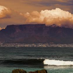 Tafelberg, Kaapstad,  gezien vanaf Robbeneiland