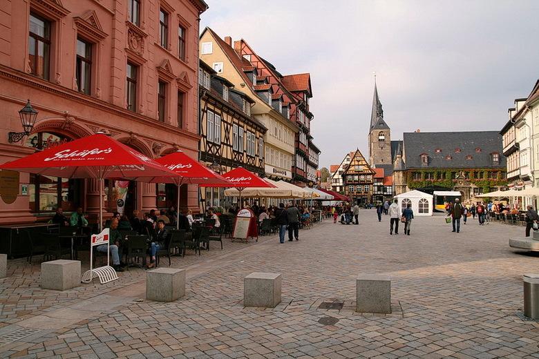 Quedinburg Duitsland. - Dit is het centrum van Quedinburg in het Harz  gebied Duitsland.<br /> <br /> Vanavond gaat de stekker er voor een kleine 14