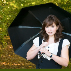Lady with the spinning brolly