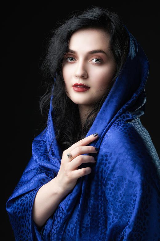 in blue silk