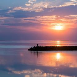 Zonsondergang bij de Brouwersdam