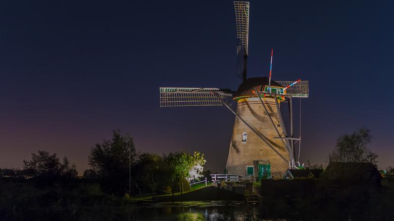 Molen Kinderdijk - Avondfoto van een van de molens van Kinderdijk.