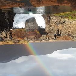 Waterval met regenboog