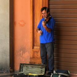 Italiaanse vioolspeler in Bologna