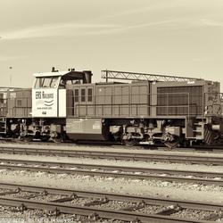 Zwart Wit foto van locomotief ERS Railways