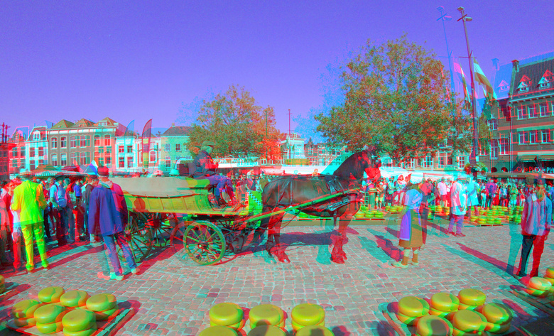 Kaasmarkt Gouda 3D GoPro - Kaasmarkt Gouda 3D GoPro<br /> anaglyph stereo red-cyan