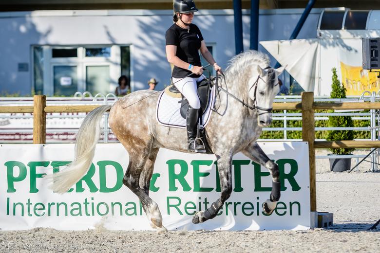 _DSC6107-2 - Helga en haar prachtige PRE-hengst  Lentisco op 24 augustus 2019 te Aken, Duitsland.