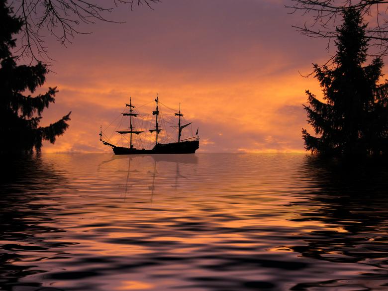 Sailing - Een speels moment.<br /> Deze bewerking was eigenlijk een foto die ik van uit mijn voor deur had gemaakt van de op komende zon.<br /> <br
