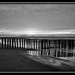 Ondergaande zon Zeeuwse kust