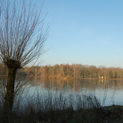 Uitzicht over waterplas