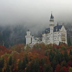Neu-Schwanstein onder de mist