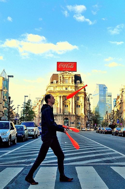 jongleur in de stad -