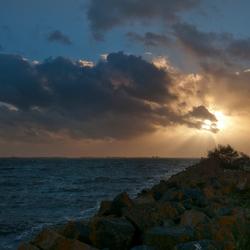 Zon bij het Lauwersmeer