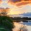 Zonsondergang bij de Waal in Ooij
