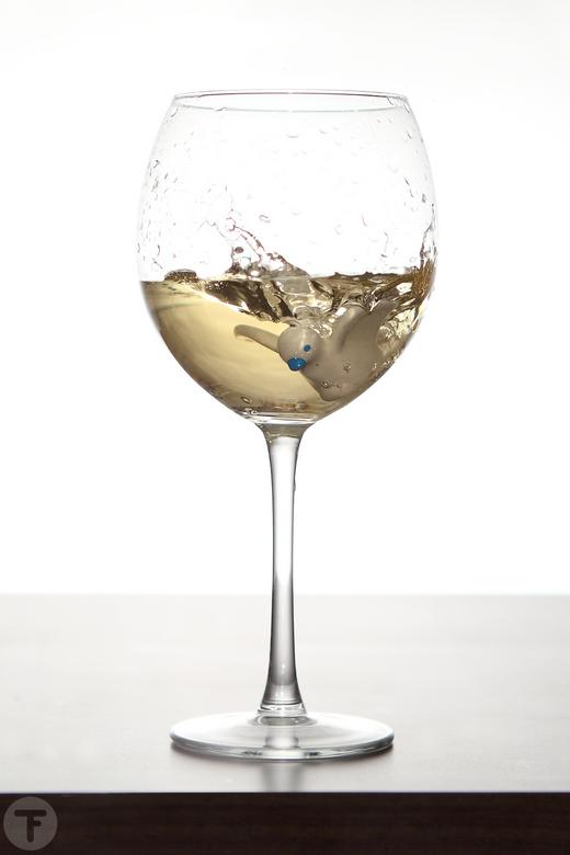 """Taking a dive - Een speelgoed duifje en een goed glas wijn... 1 + 1 = 2 <img  src=""""/images/smileys/smile.png""""/><br /> <br /> Groetjes<br /> Robbert"""