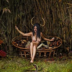 Horned goddess and her pet
