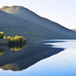 Reflectie met ochtendzon