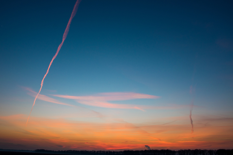 Zonsondergang met Vliegtuig - Kleuren