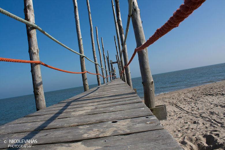 Bridge to another island. - Waddenveer naar Vlieland.<br /> <br /> Via deze brug kan men op een boot stappen en mee varen naar het eiland Vlieland.