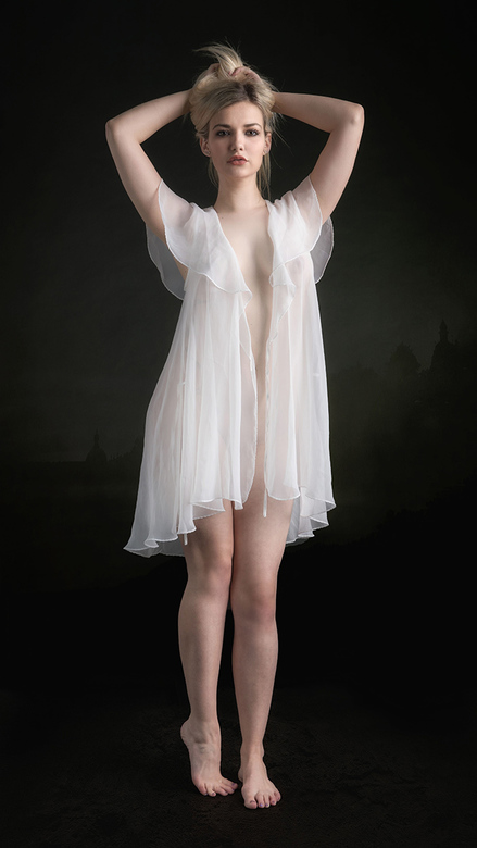 white robe - model is Bad Dolly