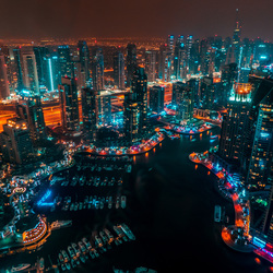 Dubai Marina Skyline by night