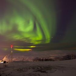 Boven op de berg bij Tromsø