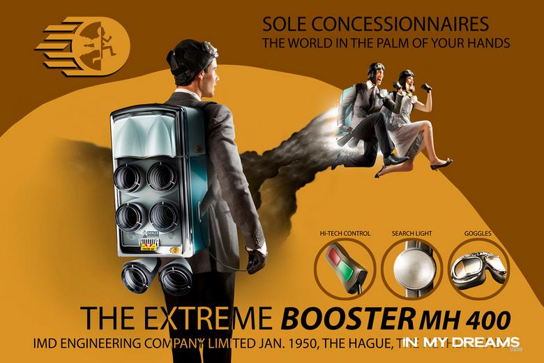 Booster Fifties Poster - Fictief idee waarin mensen in de jaren '50 rondvlogen met boosters (jetsets)..