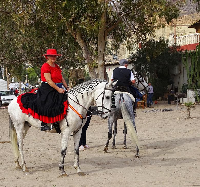 Feestje.. - gisteren was het feest in Bolnuevo, fiesta de Milagro,een maria beeld dat door de straten wordt gedragen en heel veel paarden. Deze mevrou