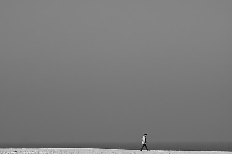 eenzame wandelaar - Het was koud en windstil begin maart,<br /> een enkeling waagde zich aan een strandwandeling op Scheveningen.