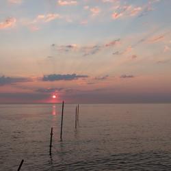 Zwembad in Den Helder bij zonsondergang, 7 mei