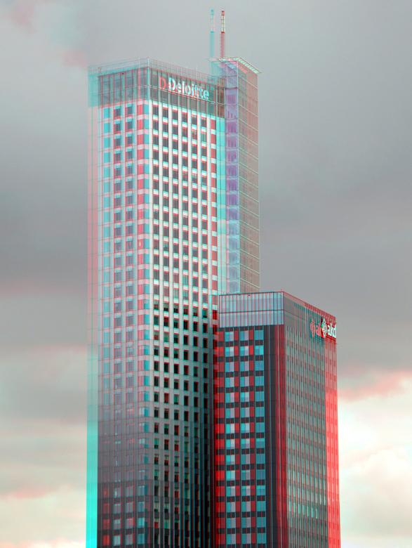 Maastoren Rotterdam 3D - Maastoren in anaglyph stereo red/cyan