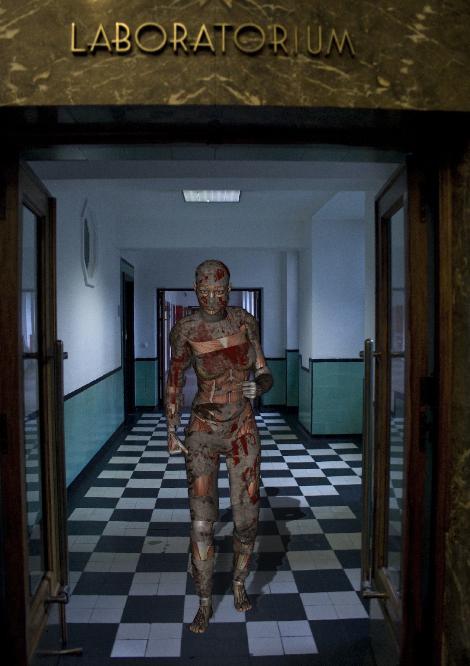 escape from experiment - originele foto aangekleed met 3d figuur en daarna in ps belichting en schaduw toegevoegd aan 3d figuur<br /> 3d figuur aange