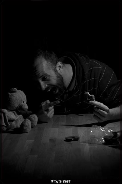 Stoute beer - ontstaan uit verveling wilde iets totaal anders doen maar dat mislukte steeds.<br /> toen zag ik die beer van mn dochter en kon het nie