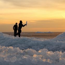 *IJsbergen* bij zonsondergang