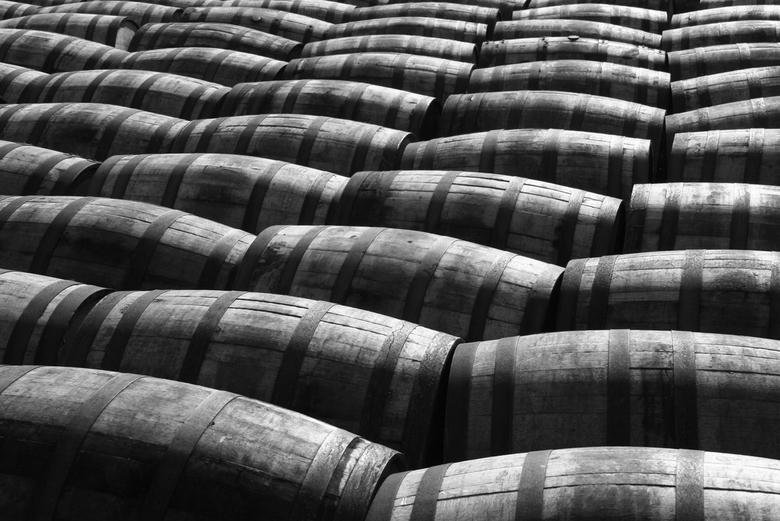 To be filled - Vaten die klaar liggen om gevuld te worden bij Laphroaig Distillery op Islay Schotland