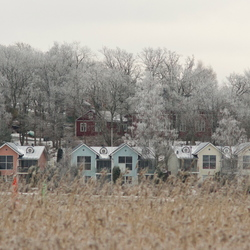 Gekleurde Finse houten huizen