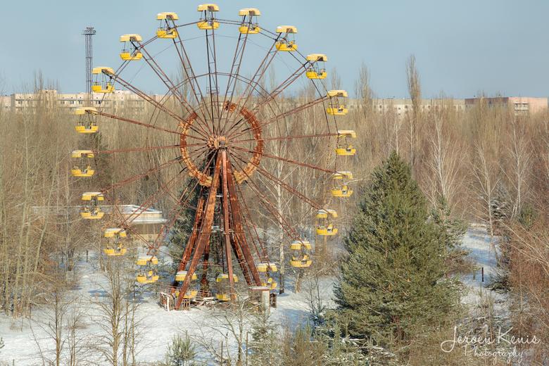 Pripjat - Het welbekende reuzenrad in Pripjat stad.