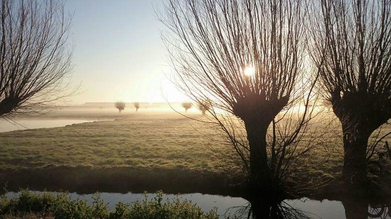 Fietsend genomen foto van zonsopkomst. IIII -