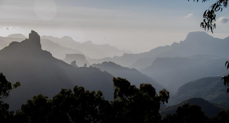 Gran Canaria 11 - landschap in het late middaglicht bij Tejeda  - Het tweede van de vier Canarische eilanden die we in februari bezochten. Eerder plaa