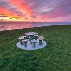 zonsopkomst aan de waddenzee bij texel