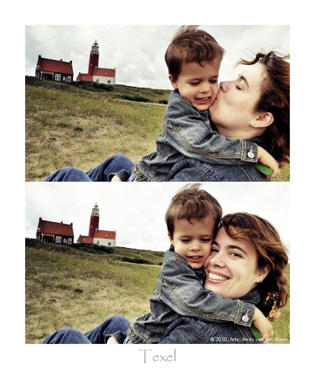 Knuffel - Op een steenworpje afsand van de vuurtoren van Texel krijgt mijn vriendin een flinke knuffel van mijn zoontje.