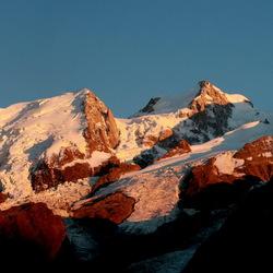 Zonsondergang bij de Mont Blanc