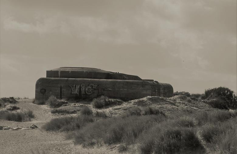 Bunker in de duinen bij Skagen - Deze bunker maakte deel uit van de 'Atlantische muur', Skagen in Denemarken. De duinen nemen hier het lands