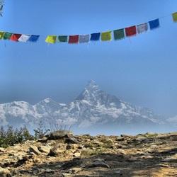 Zicht op het Annapurnagebergte